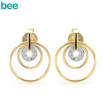 3 Hoops Diamond 9ct 9k Solid 2-tone Gold Earrings 55095