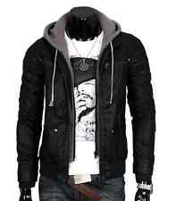 Fashion Men's Leather Jacket Hooded Slim casual Zip motorcycle Coat cool new