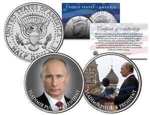 VLADIMIR PUTIN Colorized JFK Kennedy Half Dollar US 2-Coin Set * LEGAL TENDER *
