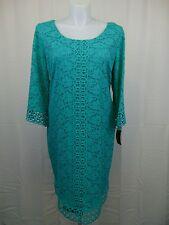 Alfani Plus Size 3/4 Sleeve Crochet Lace Sheath Dress 2X Aqua Marine #3975
