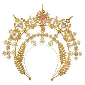 Gold Halo Goddess Headpiece Vintage Women Headdress Headband Hair Accessory