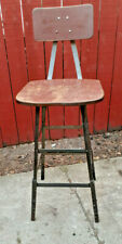 Vintage Pollard Industrial Factory Steel Stool contour Wood seat - with back d