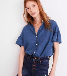 MADEWELL Indigo Blue Central Ruffle-Sleeve Shirt Chambray Button Front Womens M