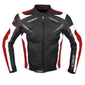 Moto Giacca Pelle Motociclismo Gilet Estraibile Protezioni CE Traspirante Rosso