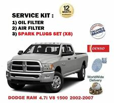 FOR DODGE RAM 4.7 1500 V8 2002-2007 OIL AIR FILTER + 8 SPARK PLUGS SERVICE KIT