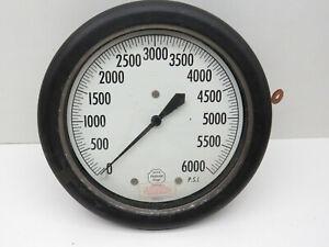 "Helicoid 430-R Pressure Gauge 0-6000psi, 6"" Dia, Flush Case, 1/2"" NPT Back Conn."