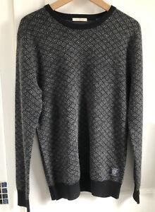 Mens Scotch & Soda Large Black Wool Mix Crew Neck Jumper Sweater VGC