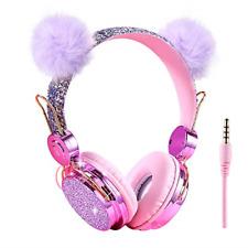 Kids Headphones Glitter Bear Ear Volume Limiting Adjustable Cute Anime Wired for
