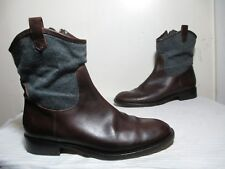 BRUNELLO CUCINELLI BROWN LEATHER AND GREY WOOL ANKLE BOOTS ITALY SZ 40