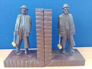 Vintage Wooden Bookends Central Europe Male Traditional Dress   C68