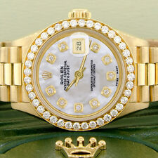 Rolex President Datejust Ladies Gold 26mm Watch w/White MOP Dial & Diamond Bezel