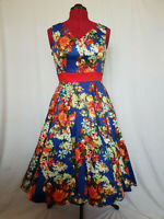 Hearts /& Roses White Blue Vintage Stripe Blossom Rockabilly 50s H/&R Swing Dress