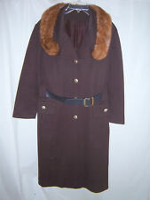Vintage Winkelman's Fuax Fur Collared Leather Belted Women's Button Up Coat