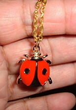 RED & BLACK Enamel Gold Plated LADYBUG PENDANT w/chain NIB CUTE Necklace Bug LOL