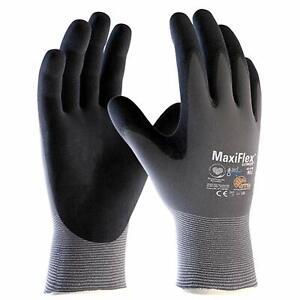 12 x MaxiFlex Ultimate 42-874 Nitrile Foam Palm Coated Work Gloves Super Comfort