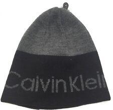 Calvin Klein Men's Reversible Logo Stripe Beanie Hat Black/Gray One Sz it/215