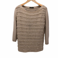 Max Mara Weekend Womens Large Beige Fringe Front Boat Neck Pullover Sweater