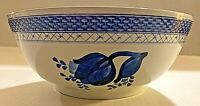 DANISH BLUE TULIP FAIENCE BOWL ALUMINIA BASKET WEAVE RIM  ROYAL COPENHAGEN