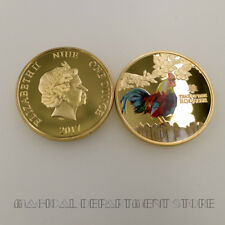 Holiday Gifts 24k Gold Plated Metal Coin Year of The Rooster Challenge Coin