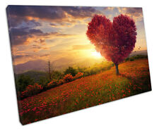 RED HEART TREE CANVAS WALL ART PICTURE LARGE 75 X 50 CM