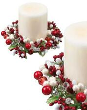 "Red and White Pearl with Berry and Jewel 6"" Pillar Votive Candle Ring Set of 2"