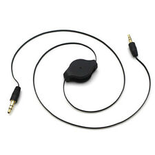 3.5mm Male to Male Stereo Jack Audio Aux Auxiliary Cable Retractable Cord Black