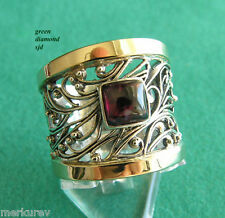 STERLING SILVER & 9K SOLID GOLD WITH ALMANDINE GARNET FILIGREE RING SIZE 10