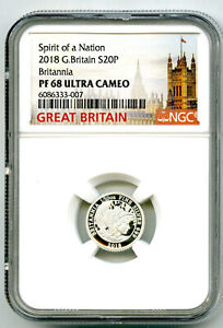 2018 20P GREAT BRITAIN SILVER PROOF BRITANNIA NGC PF68 RARE MINTAGE ONLY 1350 !!