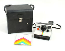 POLAROID ONE STEP RAINBOW SX-70 FILM LAND CAMERA W STRAP, CASE, AND MANUAL