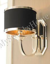 Neiman Marcus BLACK SILVER Chrome SCONCE Wall Light Retro Shade Contemporary