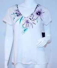 TAHARI Bally KNIT White Silver Purple FLORAL Print V-NECK Top SHIRT L Free Ship