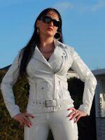 Lackjacke Lack Jacke Weiß Biker-Style Glänzend Vinyl Maßanfertigung