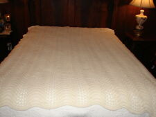 Handcrafted White Crochet Knitted Afghan Throw Blanket very complex design