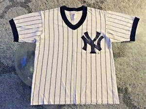 New York Yankees White Pinstripe Shirt Youth Kids Medium Vintage Majestic