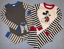 Hanna Andersson 2 Pairs Long Johns Pajamas Star Wars R2D2 Mickey Mouse sz 12 150
