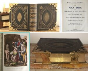⚜️Large Antique Scott & Henry Family Holy Bible Illustrated Fine Leather Book⚜️