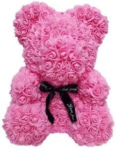 Ours en rose artificielle fait main 40 cm blanc cadeau femme fête des mère ROSE