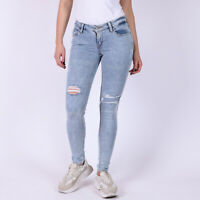 Levi's 535 Super Skinny distressed Damen Hellblau Jeans 25/30