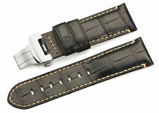 24mm Genuine Crocodile Skin Leather Watch Deployment Clasp Strap For Panerai