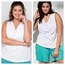 Sheego @ Kaleidoscope Plus Size 26 White Waterfall Collar Sleeveless TOP Summer