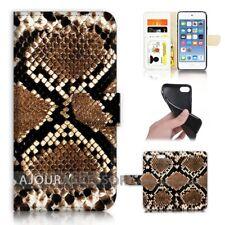 ( For iPod Touch 6 ) Wallet Flip Case Cover AJ40688 Snake Skin Pattern