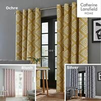 Catherine Lansfield Aztec Fully Lined Eyelet Curtains Geometric Ready Made