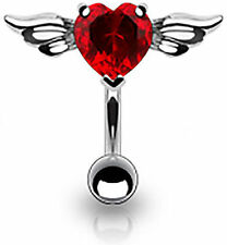 Red Crystal Reverse Heart Top Down Belly Bar Piercing