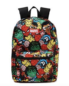 "Marvel Comics Avengers 17"" Backpack All-Over Print Front Pocket Captain America"