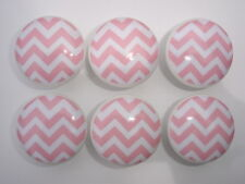 Set of 6 Pink and White Chevron Dresser Drawer Knobs