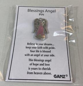 "Blessings Angel Pin Pink Enamel Silvertone Metal by Ganz 1"" Faith Hope Love"