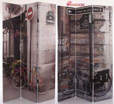 SEPARE' PARAVENTO LEGNO Bici Paris Papaveri DIVISORIO MEDICO parete vetrine h180