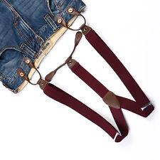 Fashional Men's Suspenders Braces Adjustable Leather Button Holes Warm Red BD704