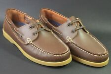 Leather Mens' DECK SHOES, size 9 brown with rubber soles.