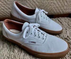 VANS Mens Canvas Skater Trainers Plain White Rubber Sole Shoes Lace Up Plimsolls